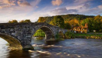 17th century Pont Fawr stone bridge on the river Conwy.