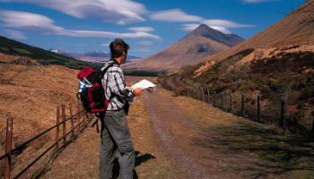 Hiker on the West Highland Way., Auch, Highland, Scotland.