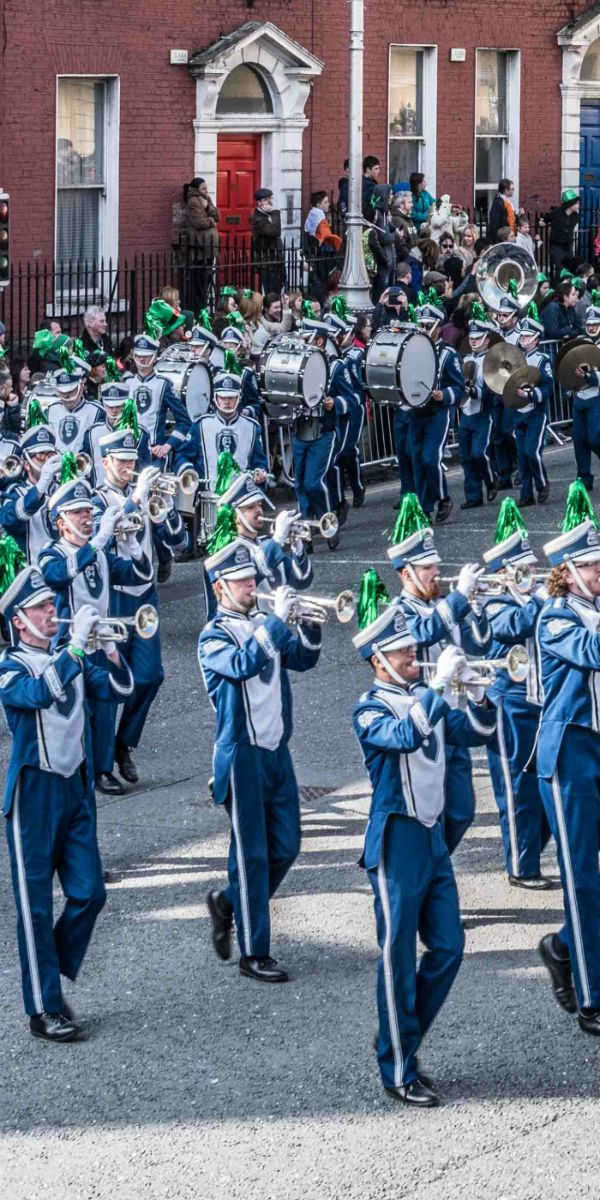 Marching band enjoying st.Patrick's day parade on marching band performance tours of Ireland