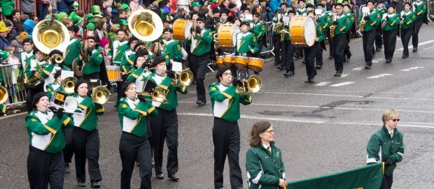 Marching band performing on St Patricks Day in Ireland