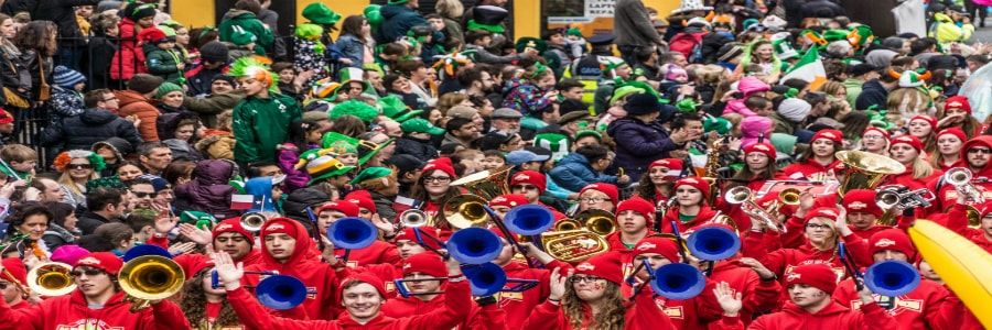 St.Patrick's Day parades are a major attraction for high school marching bands on marching band concert tours of Ireland