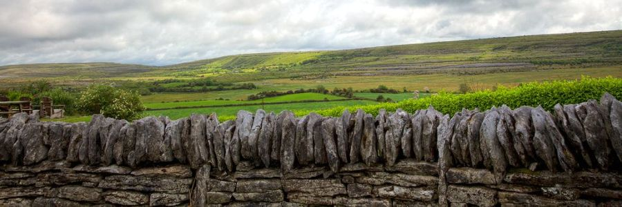 Traditional Irish wall and field in The Burren - Co Clare - Ireland. Enjoy the iconic landscapes of Ireland with Discover Ireland Tours.