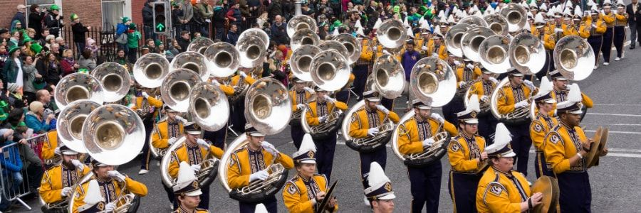 Marching Bands enjoying performing at parades on marching band performance tours of Ireland