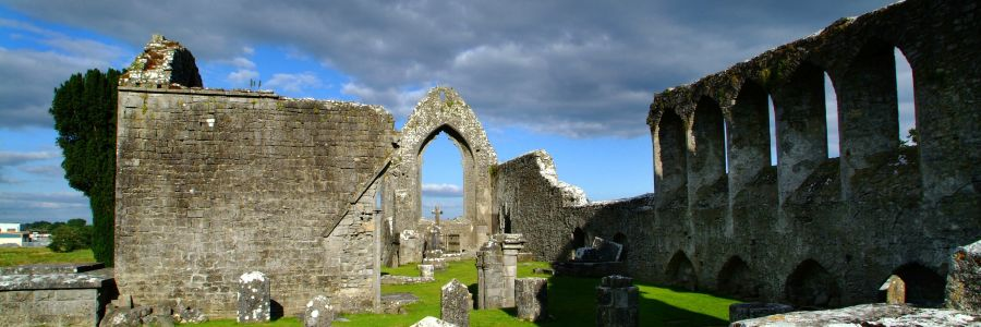 Abbey Ruins in the heart of Ireland. Enjoy The historical religious culture of Ireland with Discover Ireland Tours.